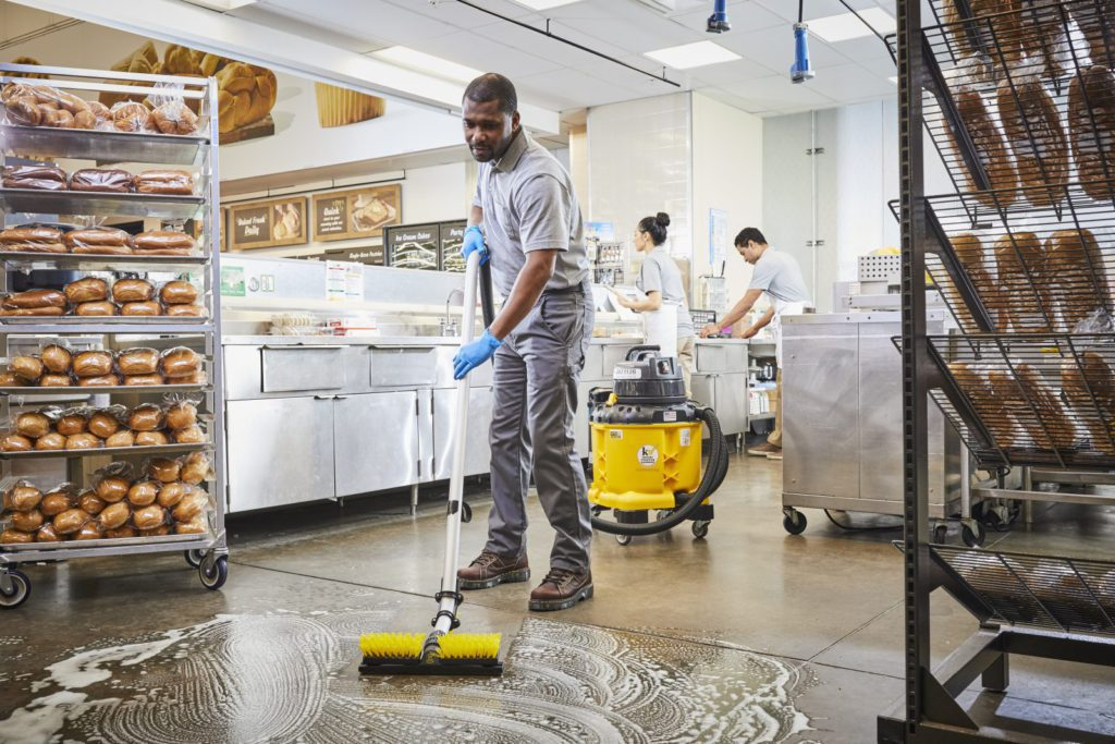 Kaivac UniVac cleaning a bakery floor